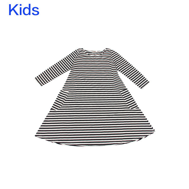 Long Sleeve White amd Black Striped Dressed