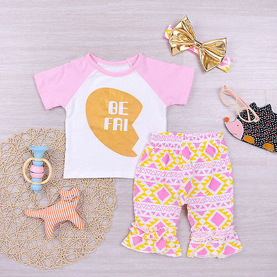 Sisters 3Pcs Summer T-shirt, Floral Pants, and Headband Outfit