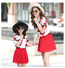 Family Matching Outfits summer Mother daughter clothing sets 2017 family look clothing half sleeve t shirt and skirt sets