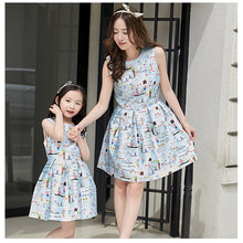 Family Matching Outfits summer print Graffiti mom and daughter dress family look clothing Cute Mother daughter dresses