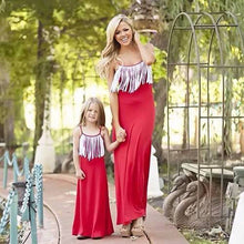 Family Matching Outfits Mother daughter tassel dresses summer mom and daughter dress family look clothing new arrival dresses