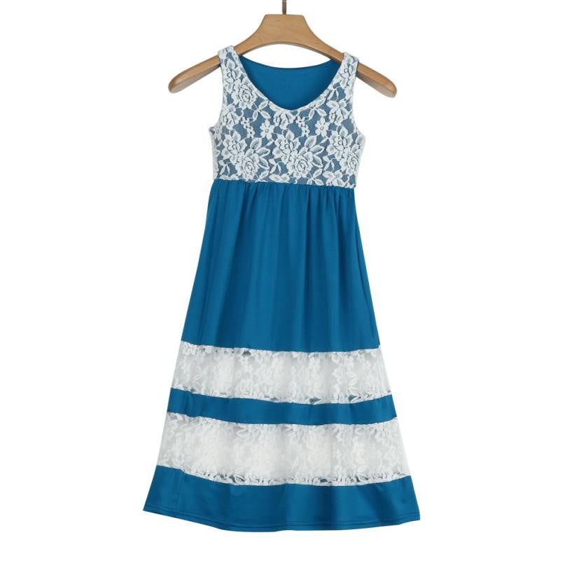 Mother/Daughter Dresses Lace Stripe