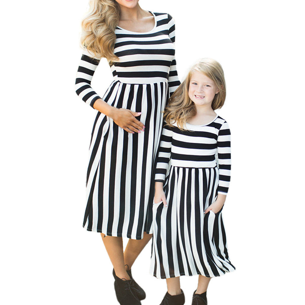 Black and White Long Sleeve Striped Dress