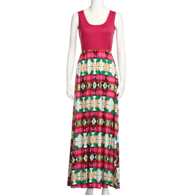 Bohemian Pattern Ankle-Length Dress - Mom/Daughter
