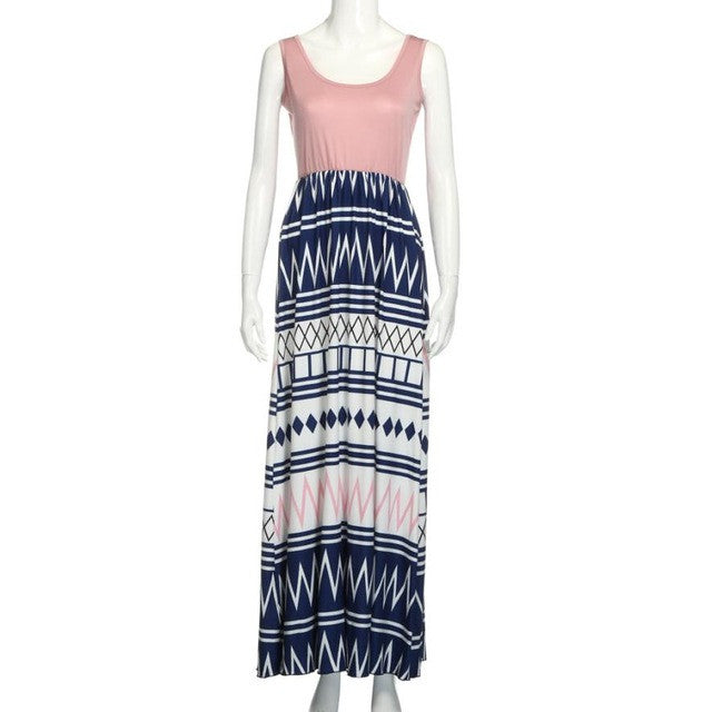 Bohemian Striped Ankle-length Dress