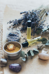 dried lavender flowers and oil vials