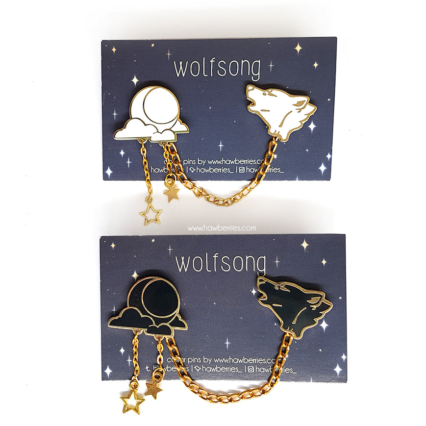 Wolf & Moon Collar Pins by Hawberries
