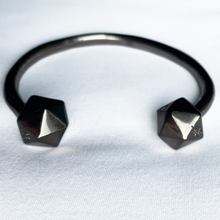 Load image into Gallery viewer, black nickel plated d20 bangle