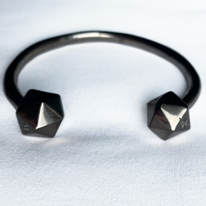 black nickel plated d20 bangle