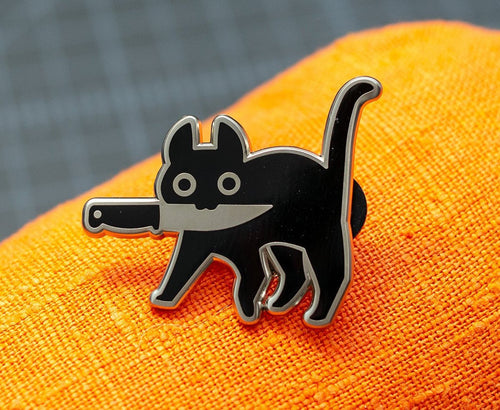 Knifecat Enamel Pin by MarlaDraw