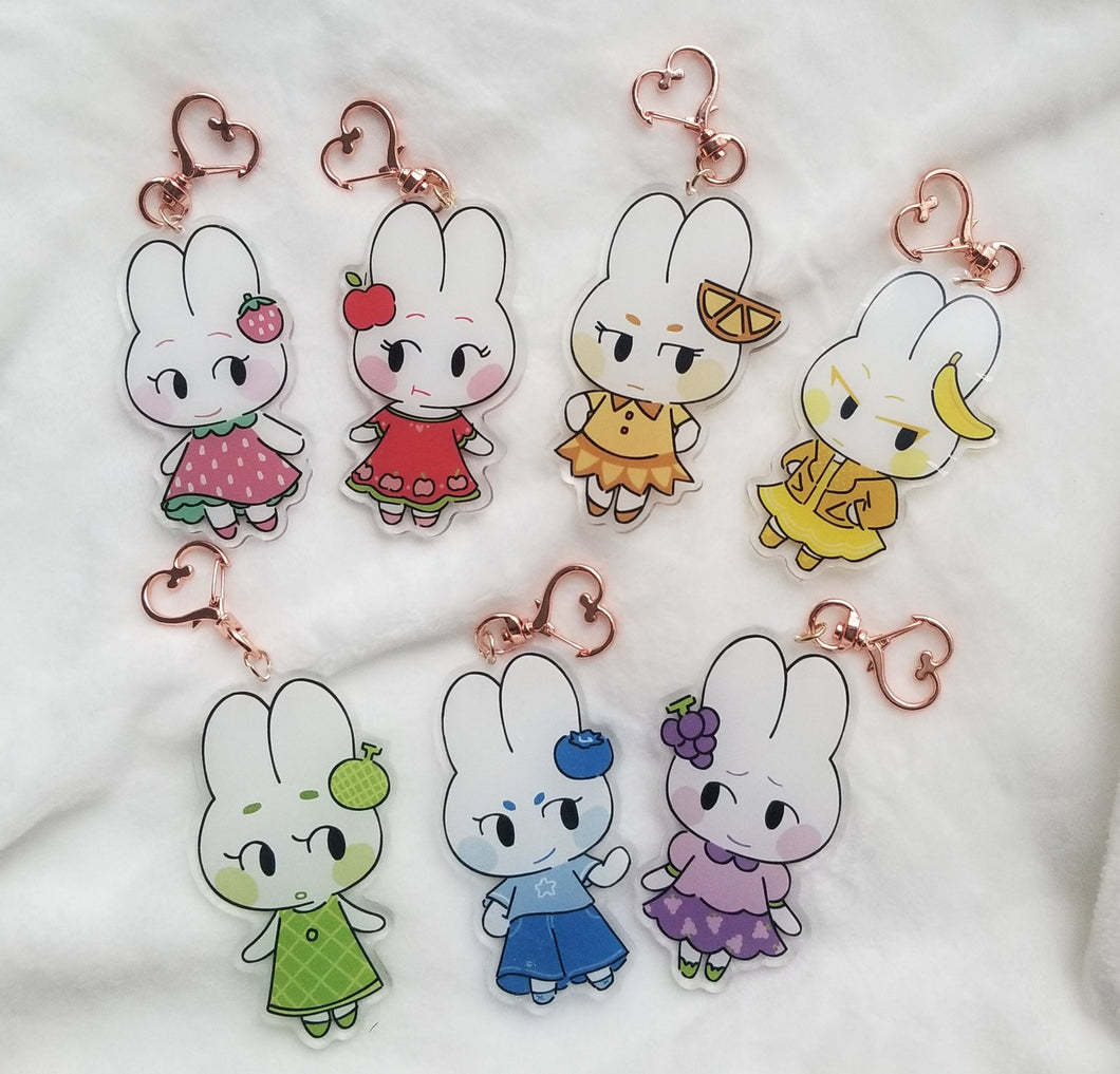 CRX | Fruit Bunny Acrylic Charms by Marie Lum