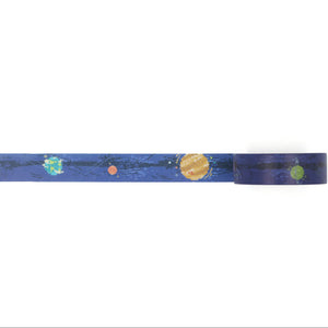 washi tape with pixel planets in a pattern
