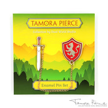 Load image into Gallery viewer, Tamora Pierce: Alanna Sword & Shield Pins