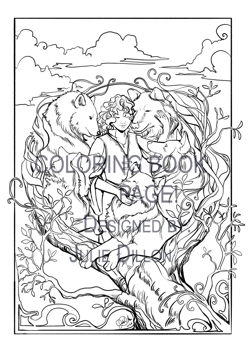 TAMORA PIERCE - Daine & The Wolfpack, Coloring Book Page