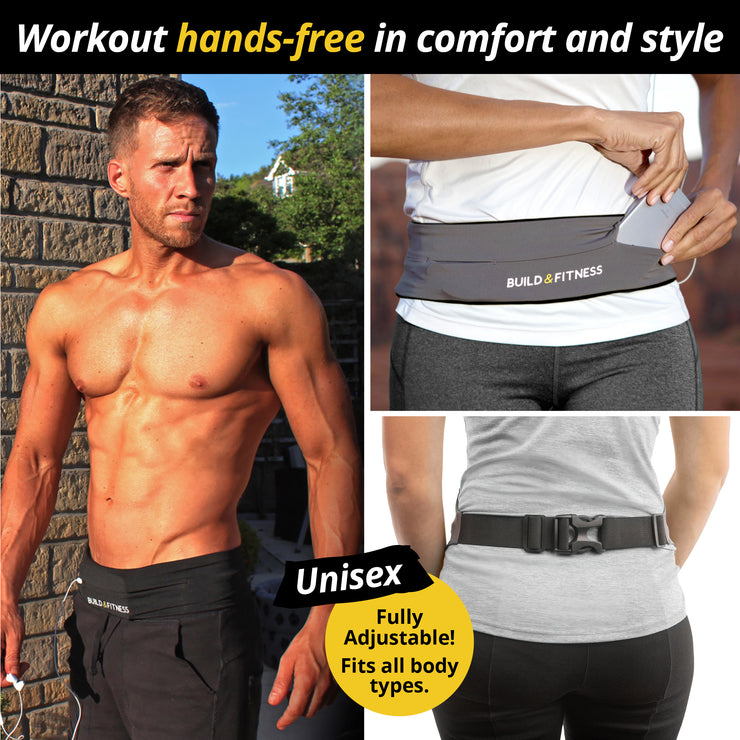Grey Adjustable Running Belt - Build & Fitness - UK