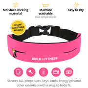 Hot Pink Adjustable Running Belt - Build & Fitness UK