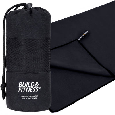 Black Microfibre Towel - Build & Fitness - UK