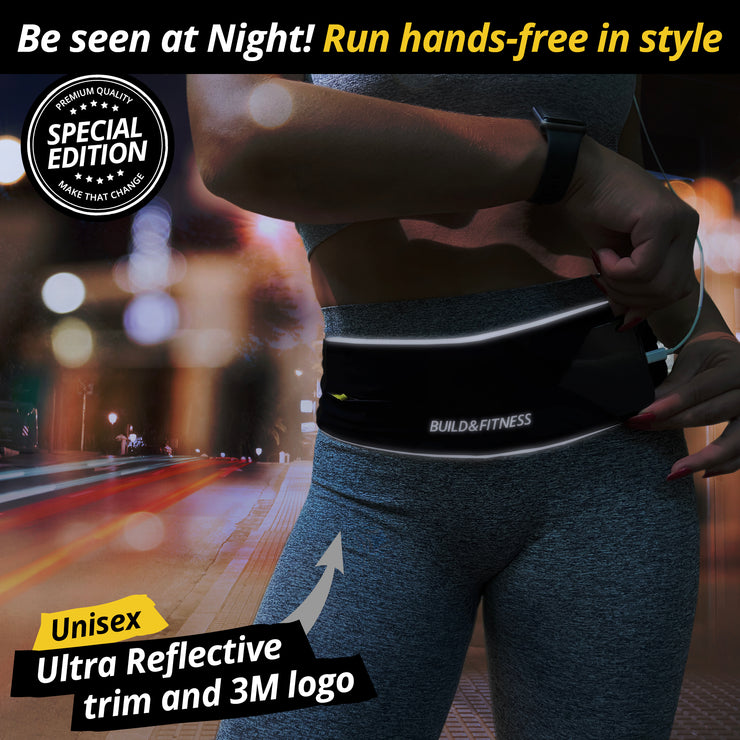 Black Reflective Classic Running Belt - Build & Fitness - UK
