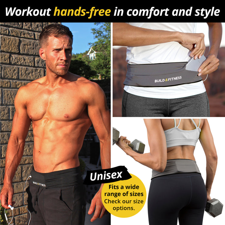 Grey Classic Running Belt - Build & Fitness - UK