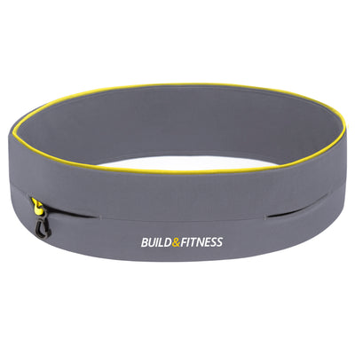 Grey (yellow trim) Classic Running Belt - Build & Fitness - UK