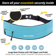 Aqua Blue Adjustable Zipper Running Belt - Build & Fitness - UK