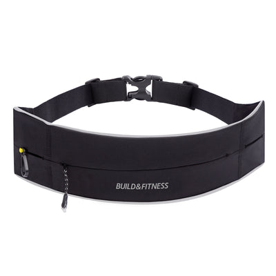 Black Reflective Adjustable Zipper Running Belt - Build & Fitness - UK