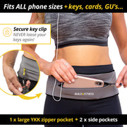 Grey Adjustable Zipper Running Belt - Build & Fitness - UK
