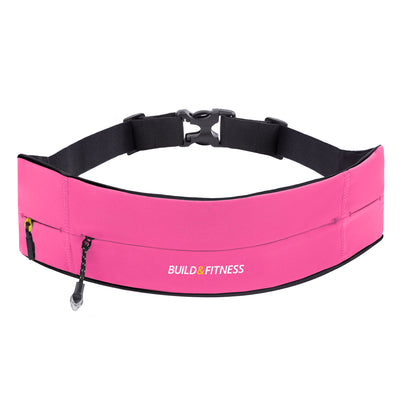Hot Pink Adjustable Zipper Running Belt - Build & Fitness - UK