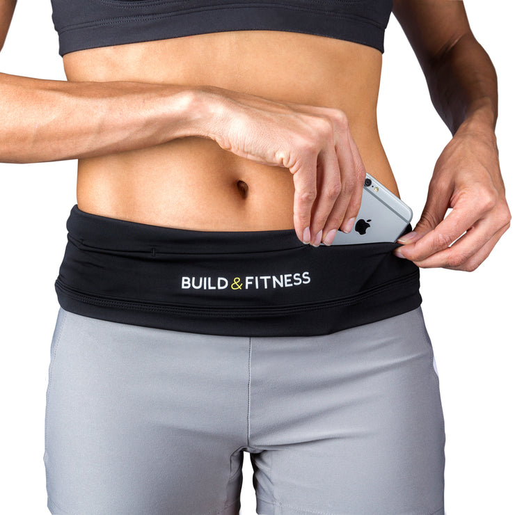 Black Adjustable Running Belt - Build & Fitness - UK