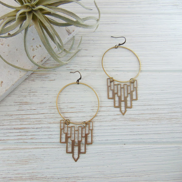 Gypsy Boho Brass Hoop Earrings