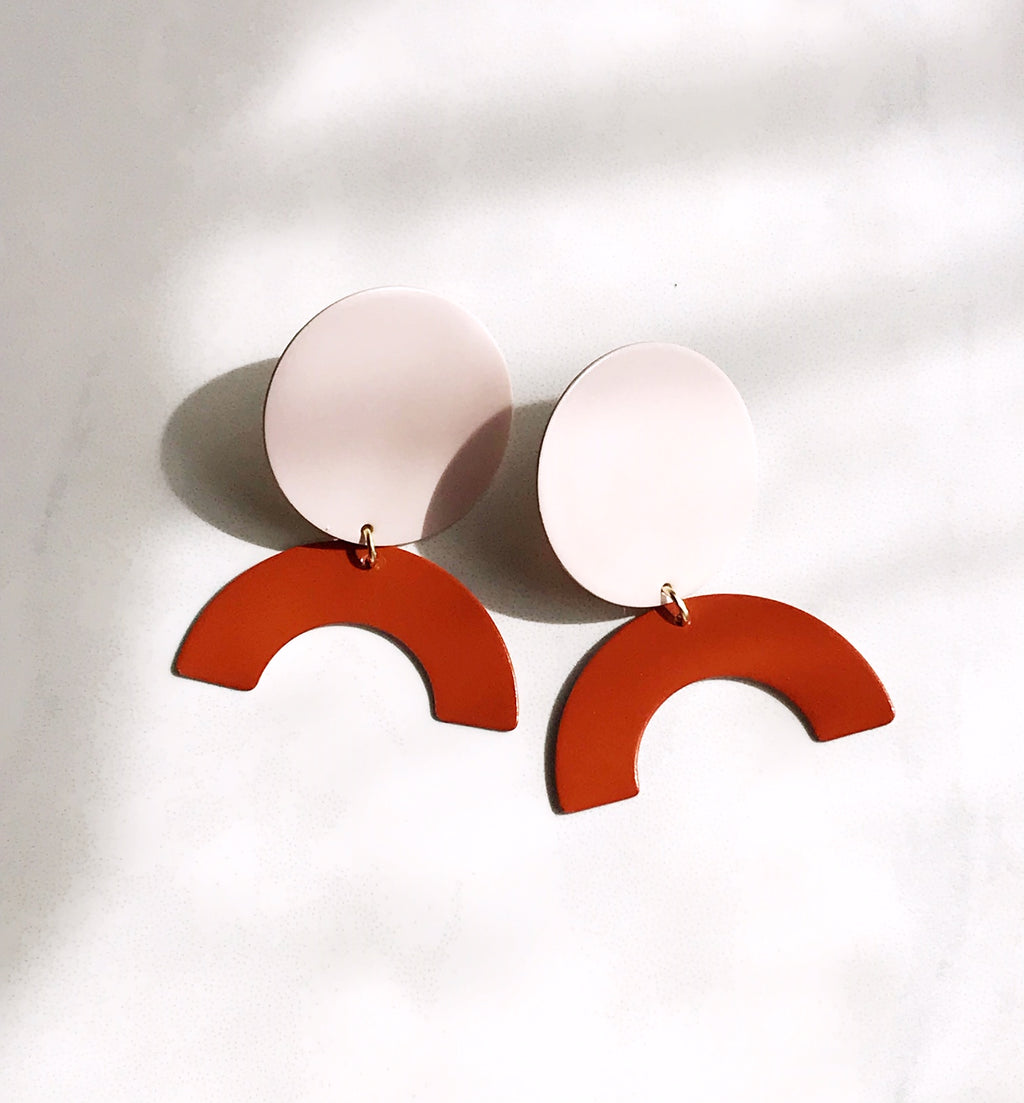 Pearl and Ivy Studio - moon rising earrings - blush / rust