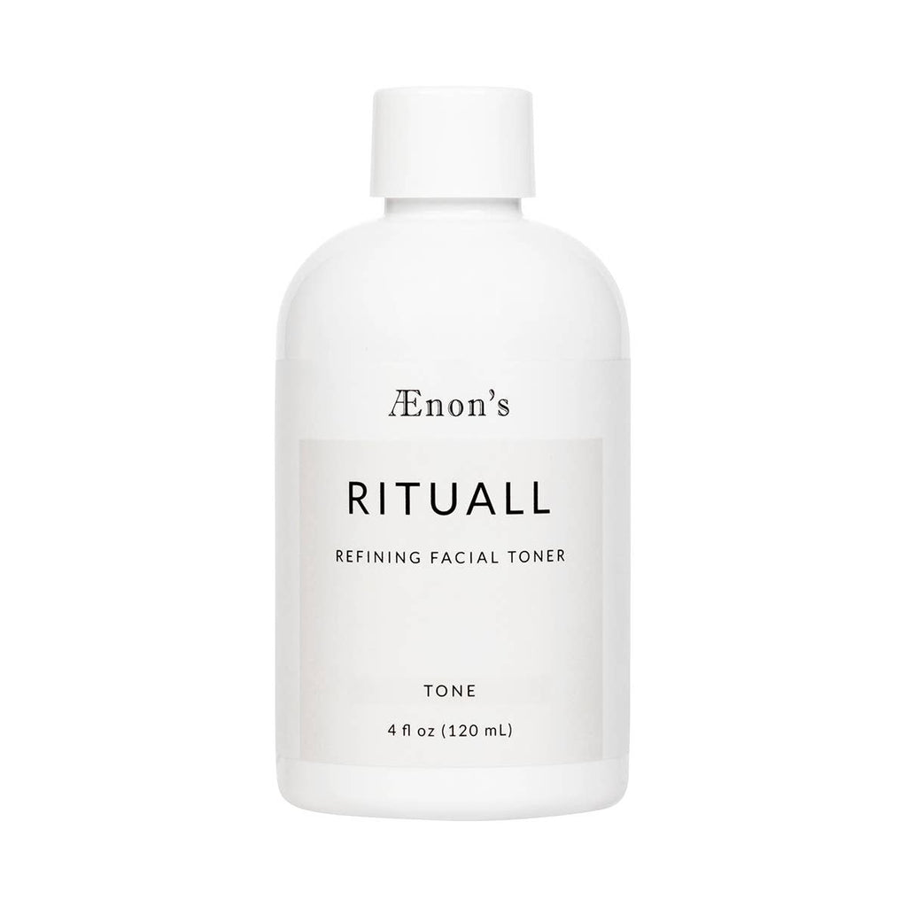 White, 4 fl oz. product bottle of AEnon's RITUALL Refining Facial Toner.