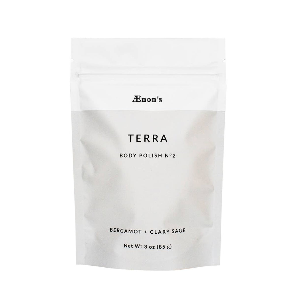 Light grey and white product package for AEnon's TERRA Body Polish No. 2.