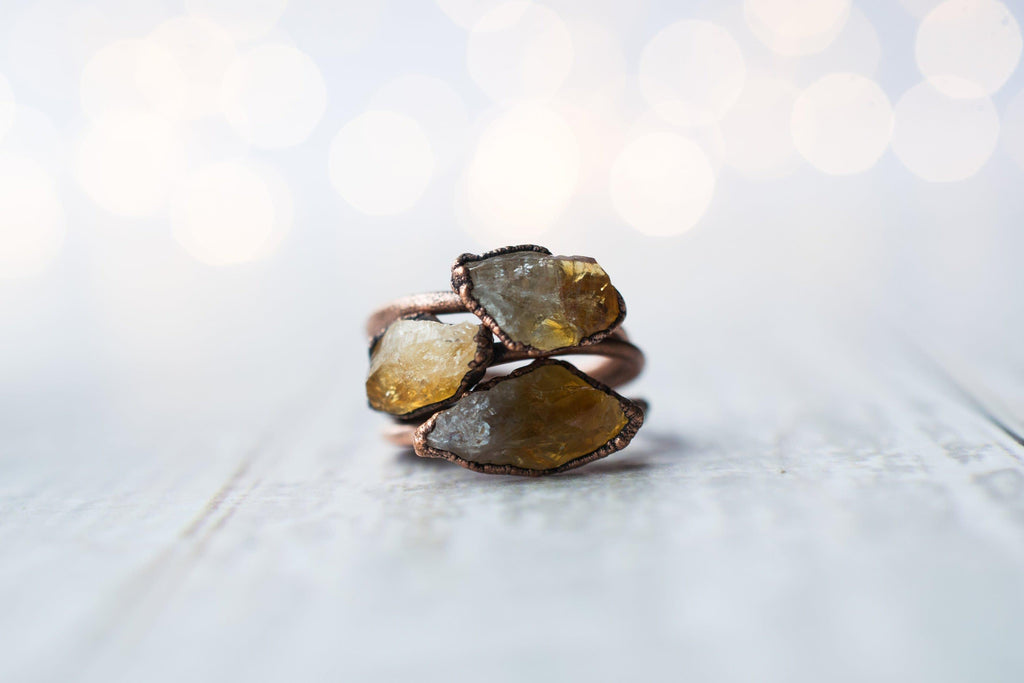 Citrine Crystal And Copper Ring