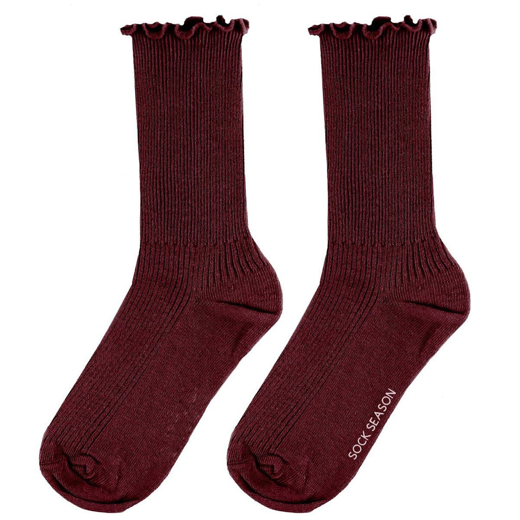 Maroon- Princess Lulu Ruffle Socks