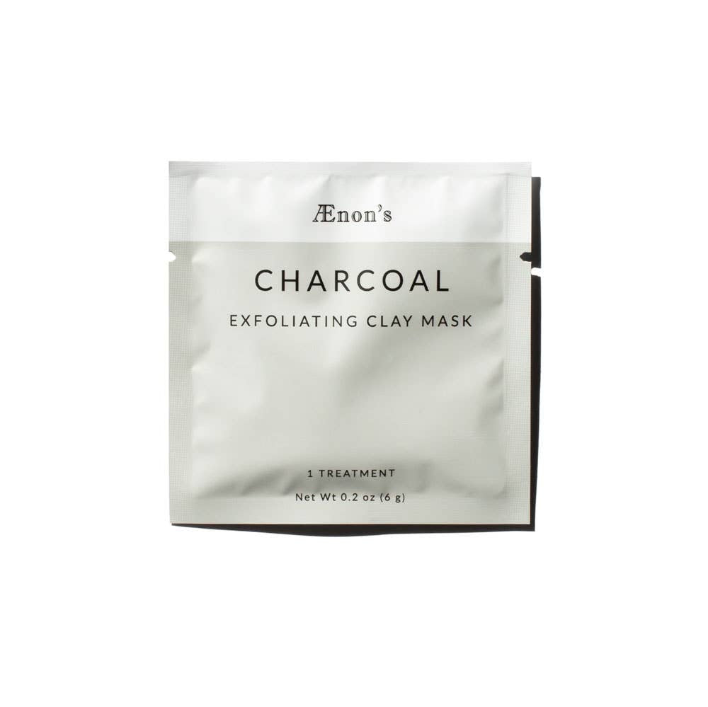 Light grey and white square product package for AEnon's Charcoal Exfoliating Clay Mask.