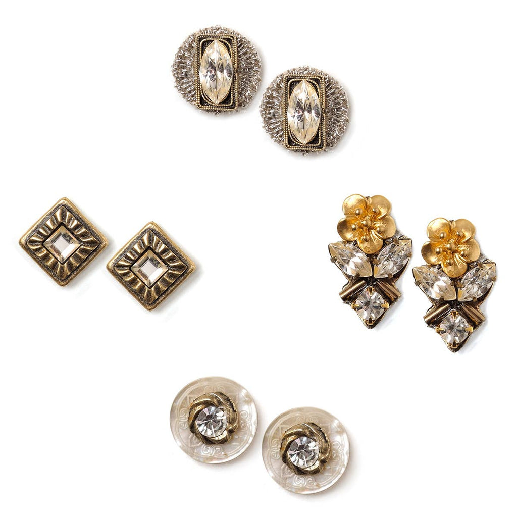 Vintage Mirror Stud Earring Set