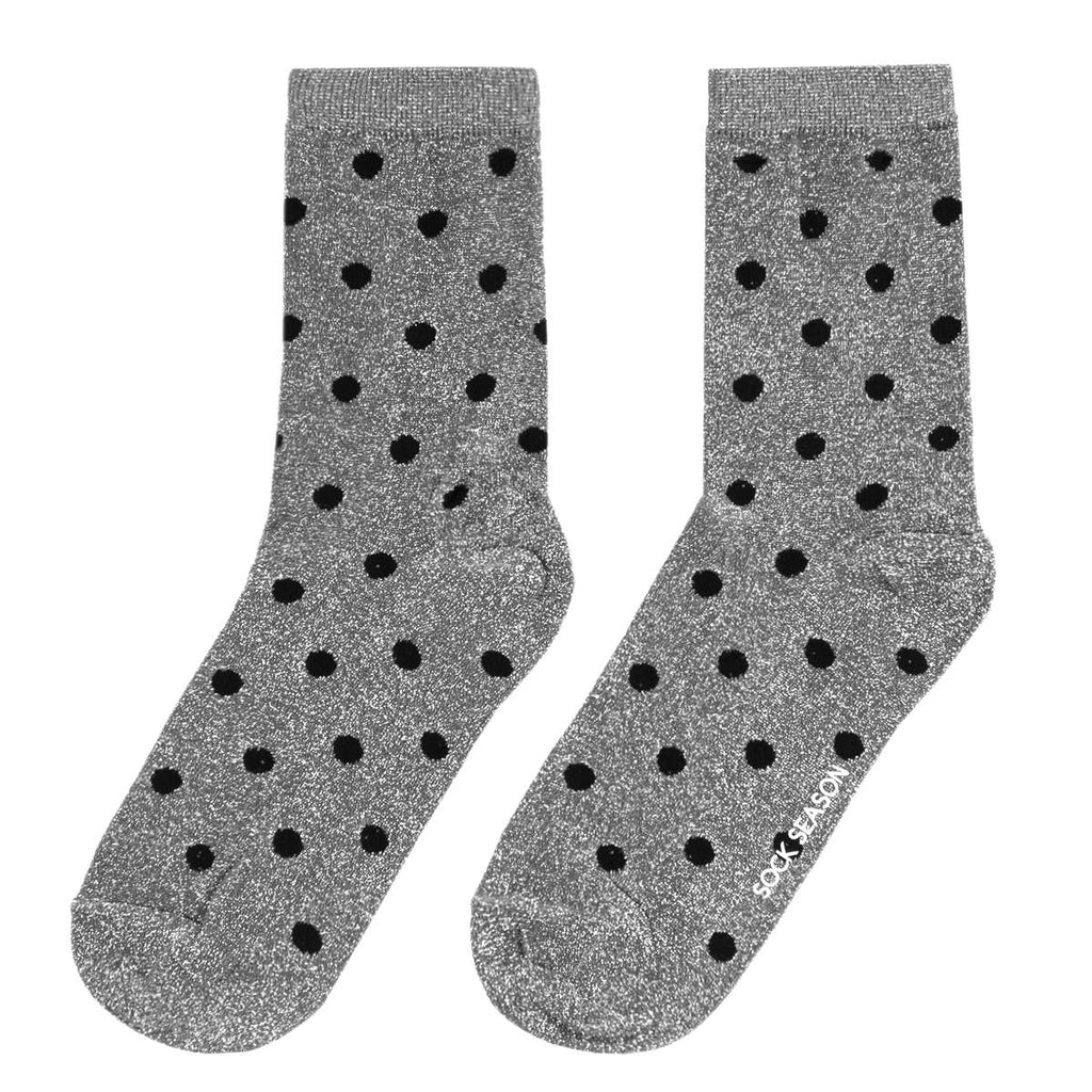 Polka Party Glitter Socks | Silver
