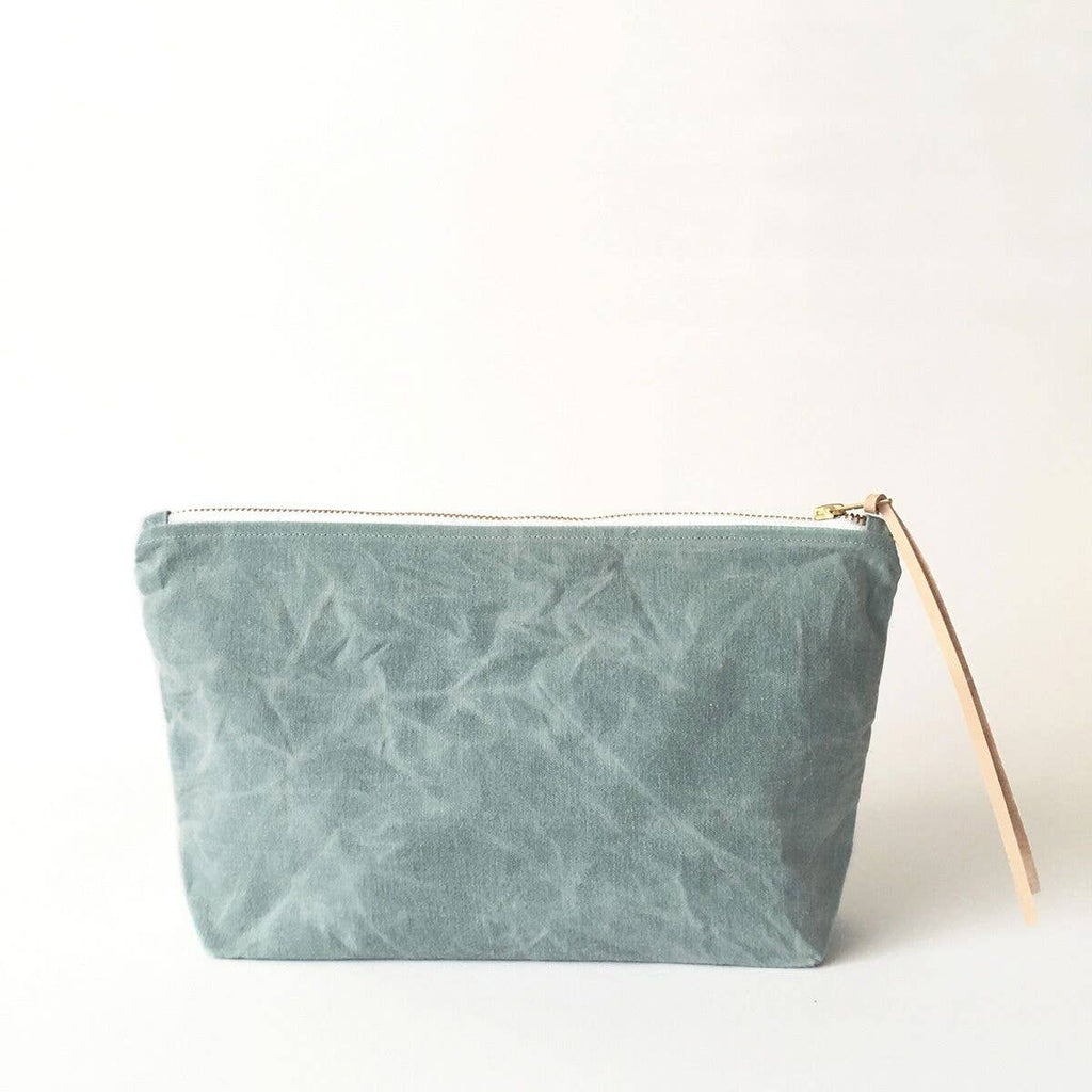Sage Waxed Canvas Cosmetic Bag