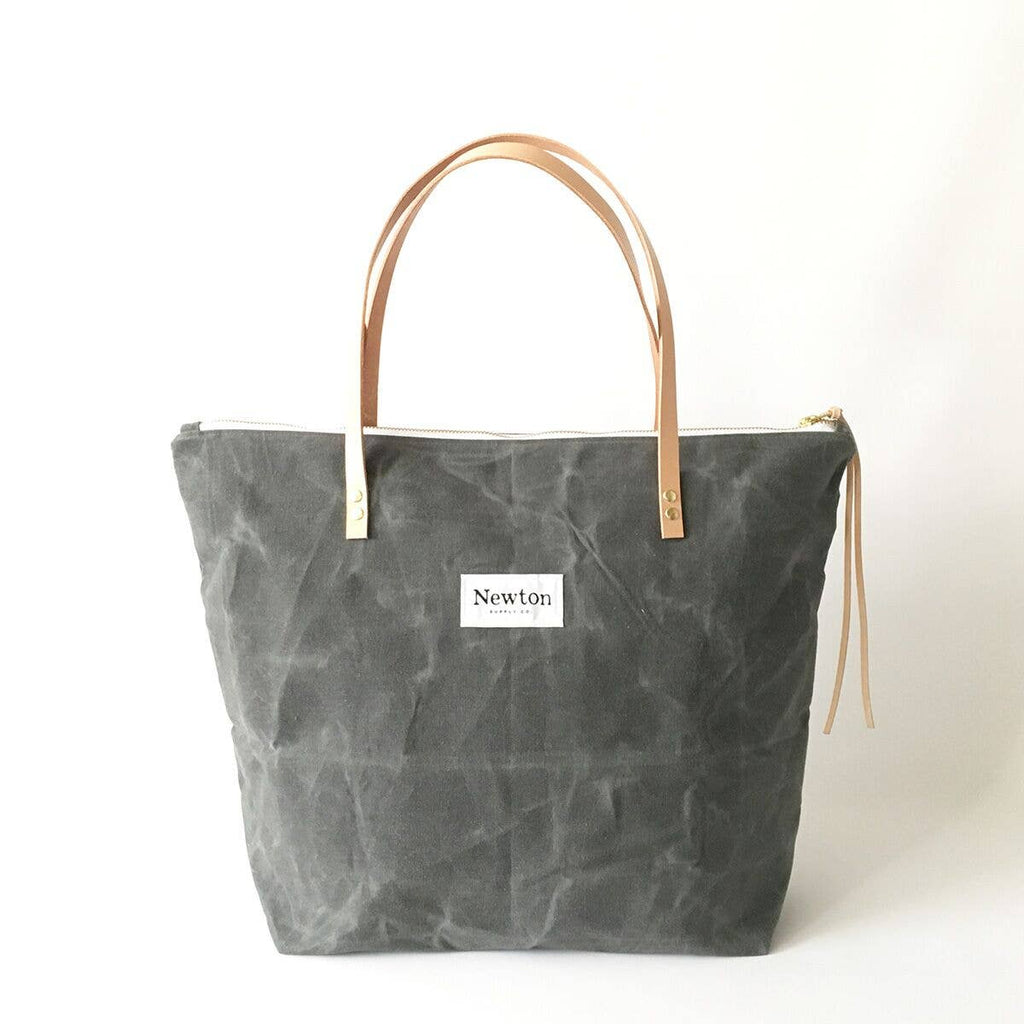 Slate Waxed Canvas Zip Tote