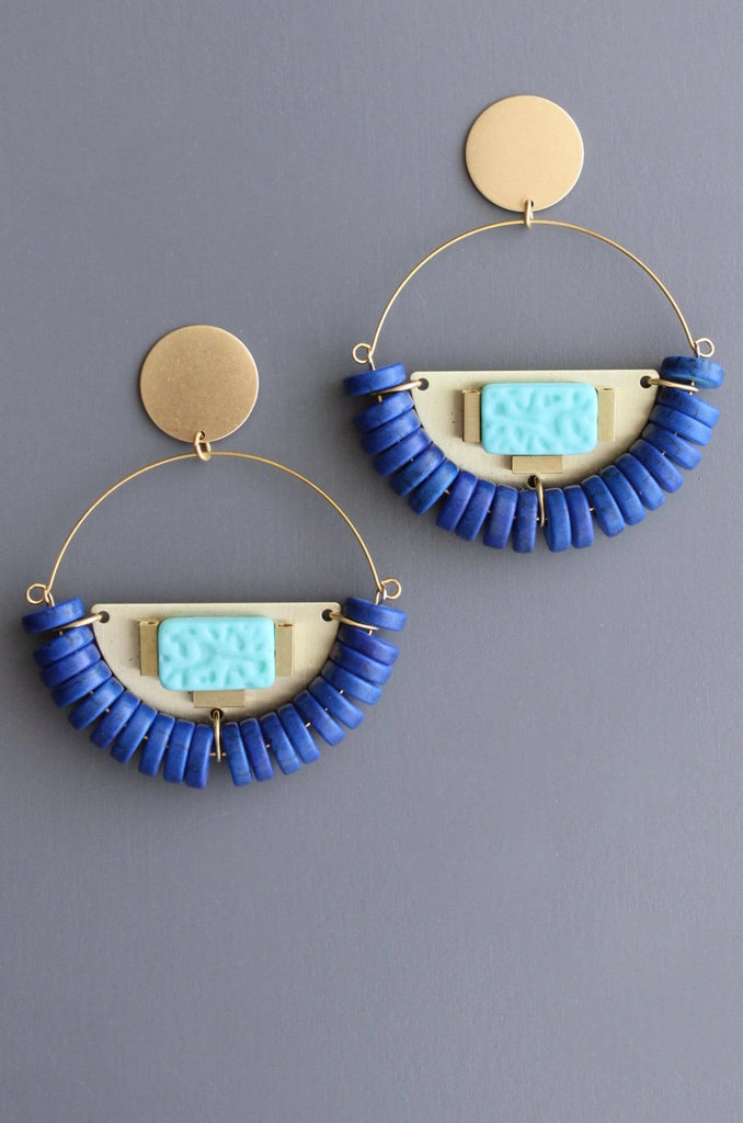 Magnesite and Glass Hoop Earrings