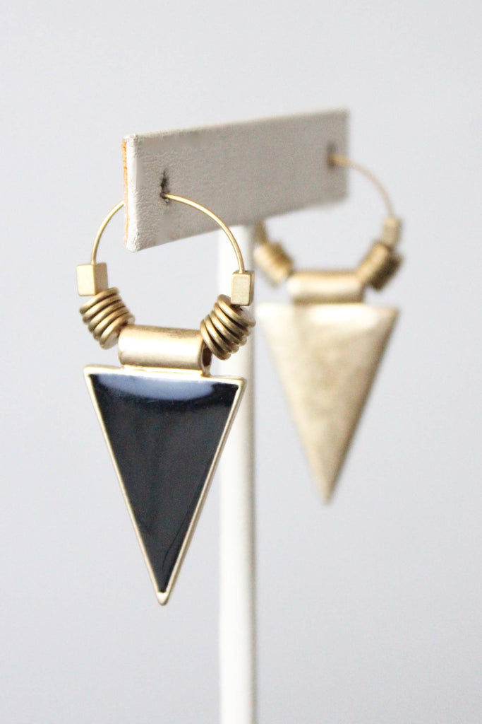 Triangle and Brass Bead Earrings