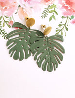 Pearl and Ivy Studio - monstera earrings - olive