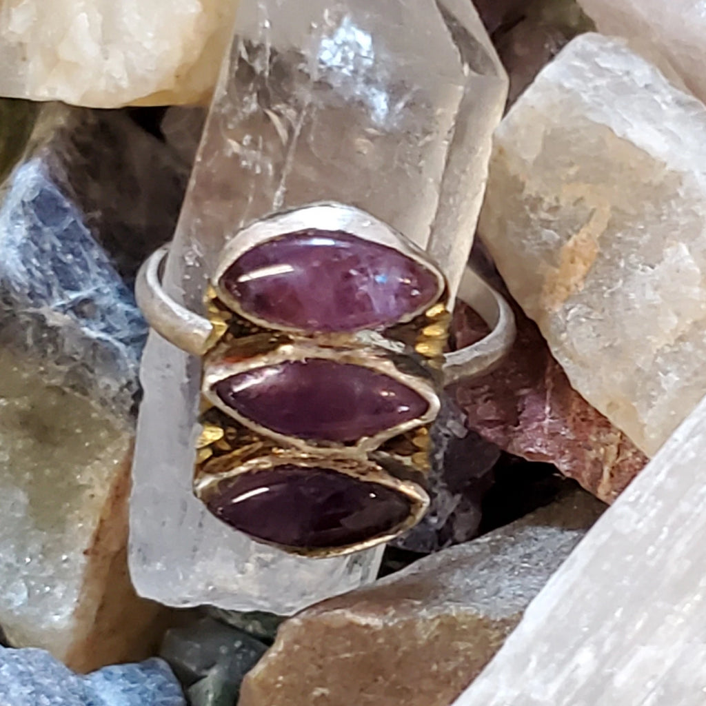 Triple Amethyst Eye Ring