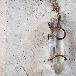 Tibetan Quartz Freeform Claw Necklace, Brass and Copper