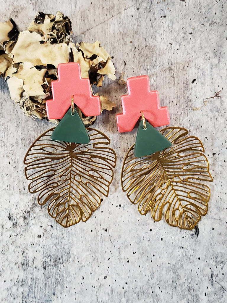 BRASS + CLAY | Monstera Temple Dangles