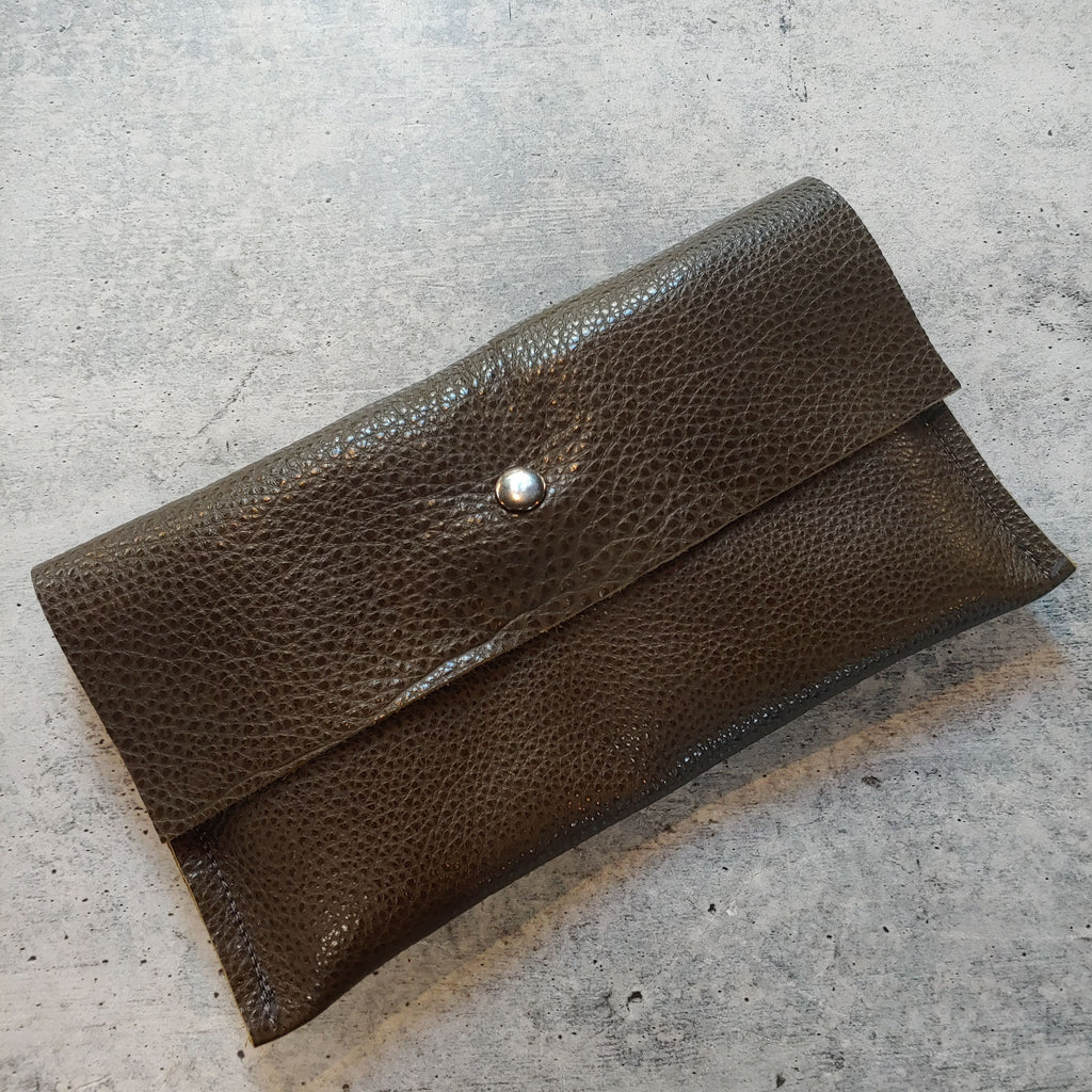 Raw Soft Leather Wallet Clutch : Seaweed