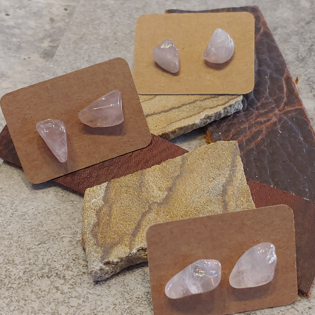 Rose Quartz Tumbled Studs
