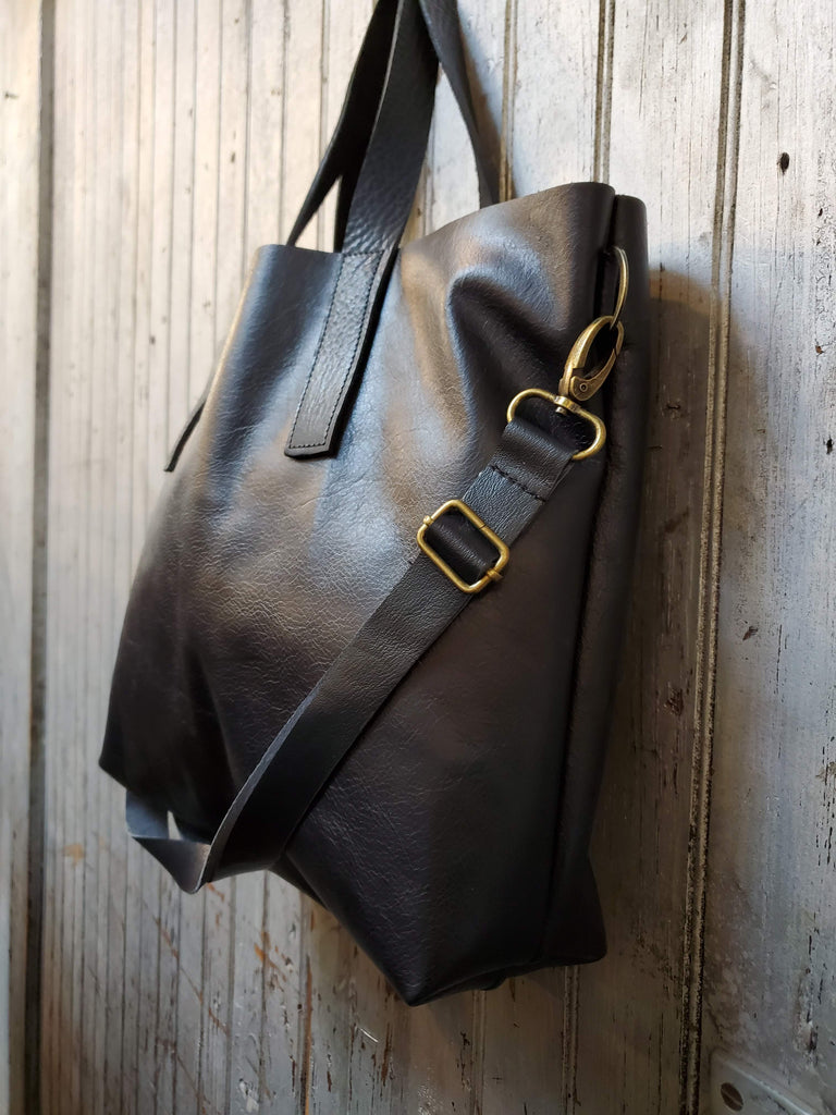 The Chicago Tote - Black Leather