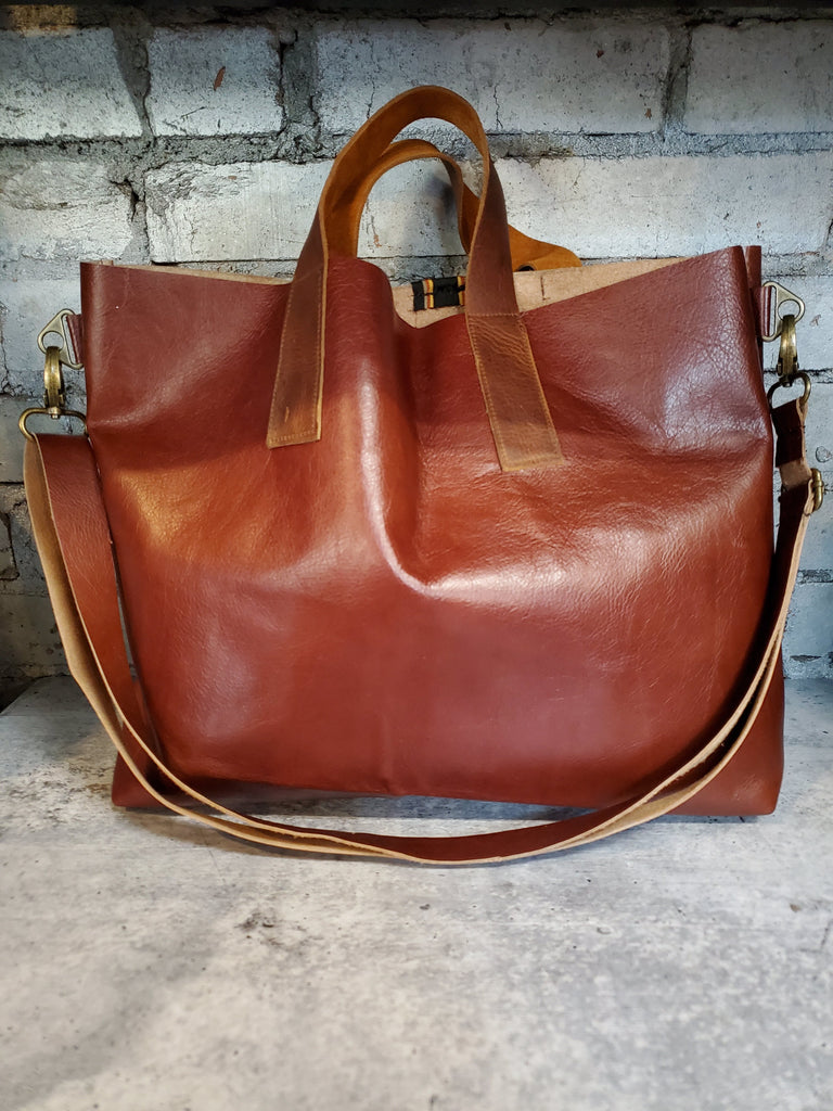The Brooklyn Tote- Umber - Vintage Ribbon